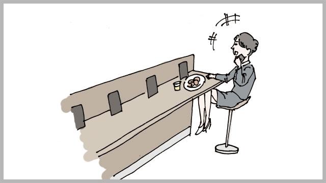反対の端のカウンターに、デパ地下慣れしてそうな奥様が座って、仕事の電話をしながら何かを食べていた。