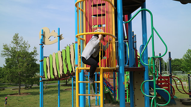 公園に取材に行って我慢できずに登ってみたけど、案外高くて不安になりすぐ降りる筆者。