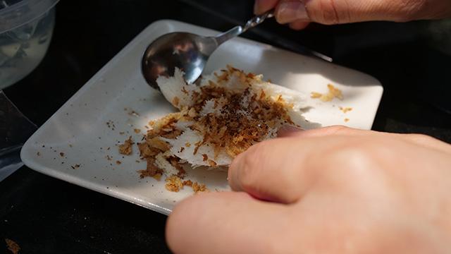 食パンのパン粉がけ。これが外サックリ中ふわふわだ!