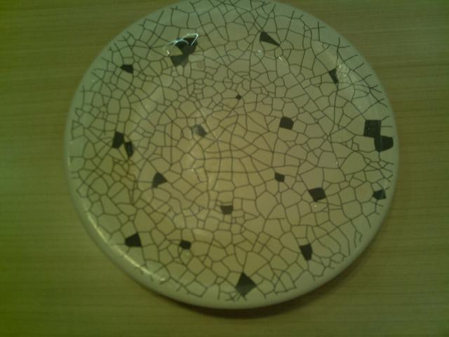 測定器に写っていたのは、薄暗くてピントの合っていない皿だった(実際の写真)。白い被写体の影響で露出がアンダーになり、さらにカメラ性能の問題で近距離でのピントが合わず。それらが原因で数値が下がってしまったようだ