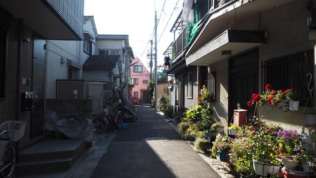 なお、橋を超えた先には路地の細い住宅街があって