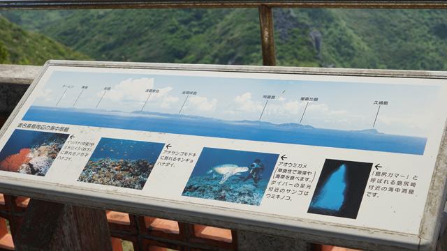 海を見下ろす展望台で海中の解説を見る。