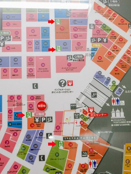 ポルタのフロアマップで、地上への非常階段の場所は非常口のマークで示されている