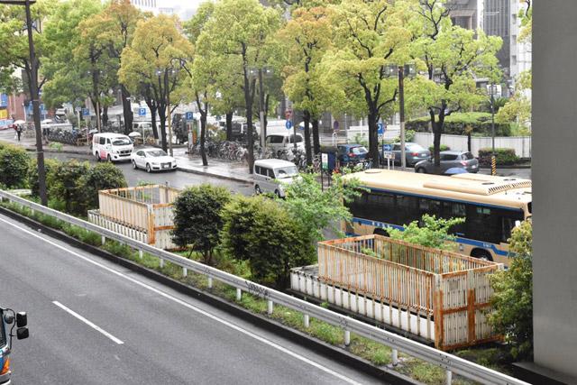 バスやタクシーの降車場近くの分離帯の上に2箇所