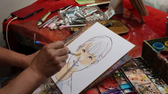 肌色、一色しか使っていないのに、筆の使い方でグラデーションをつくっている。
