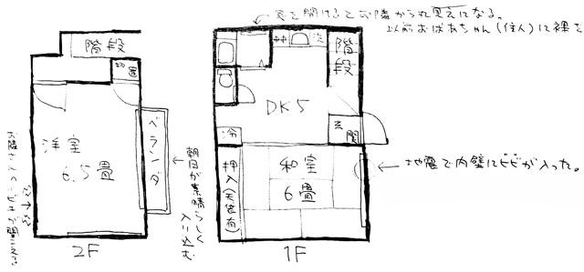 きちんと描かれた「和室6畳」と、それを基準とした各室の広さのちがいが見事に表現されている。これがさっと描けちゃうのってほんとすごいと思う。