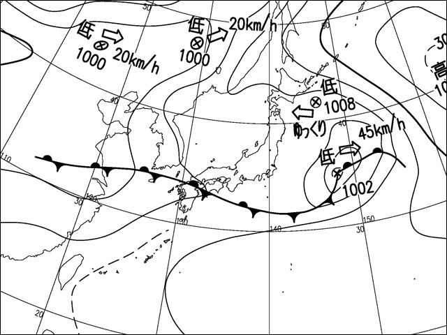 2016年6月22日。気象庁天気図。