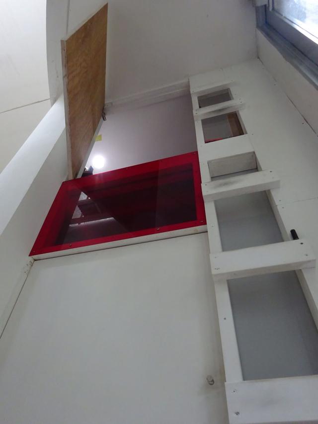 ここだよー、って指差したのは、玄関脇の2階。高っ!2階というか、右のはしごで上がった先のロフトスペースだ。また秘密基地が!