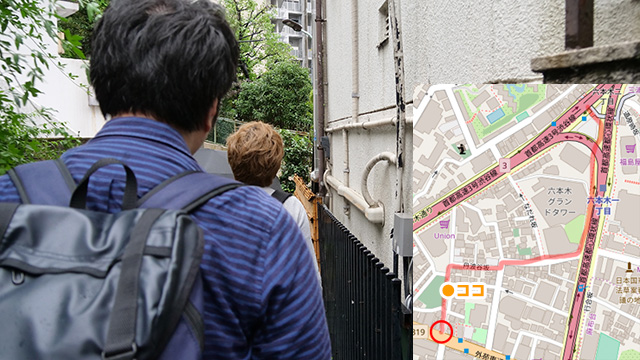 お墓のそばを通り、地図上に道として表示されない細い道を通り…ああ、ものすごく不安が高まる。これはどこに出たとしても「ここに出るのか!」と言ってしまいそうだ