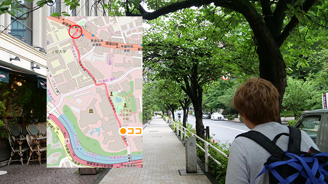 林さんの案内する「ここに出るのか」道は赤坂見附からホテルニューオータニへ。外国のようなきれいな通りに出た