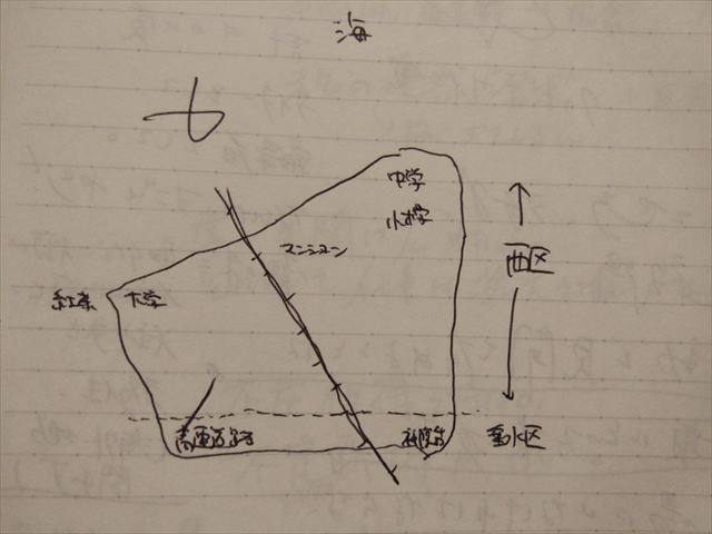 岸本くんに描いてもらった校区の図。