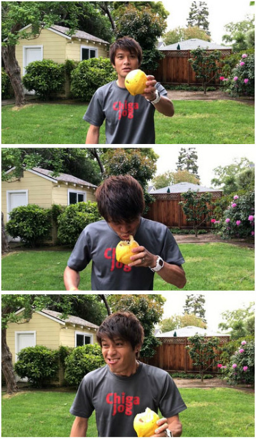 デカ顔の出展で来ていた林さんのTwitterより、宿泊先のAirBnBの庭に生えていた柑橘を皮ごとかじる安藤。