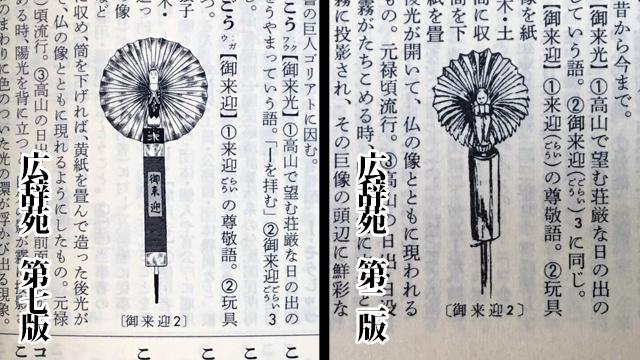 広辞苑の第二版と第七版の「御来迎」という玩具の挿し絵