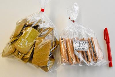 写真左の「ビスケット 宇治抹茶(400円)」は400グラム!