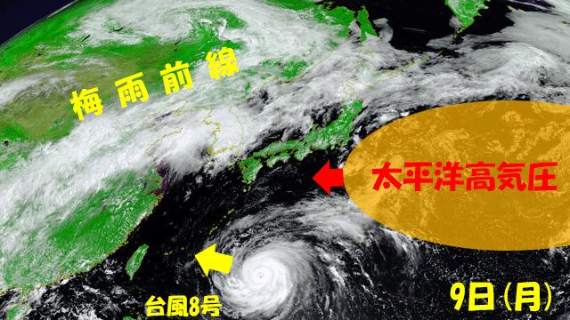 台風8号を西へ押し出すように、東から夏の高気圧が強まる。このまま強まれば、週後半はどんどん暑くなってしまう。