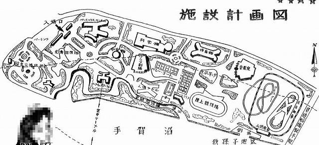 この計画図は大雑把なもので、施設間の正確な距離などを反映したものでは無いが、これをだいたいの参考にする
