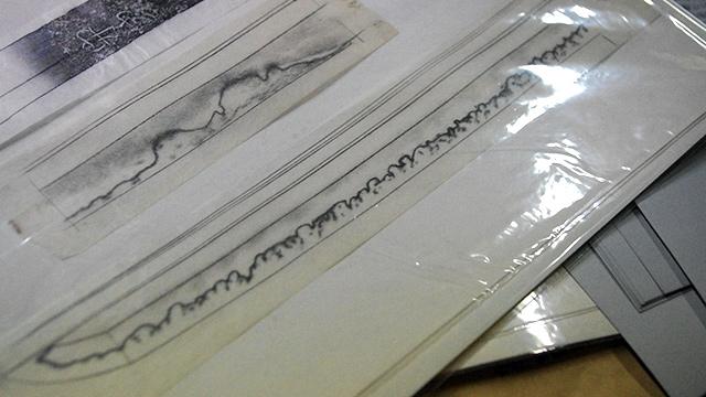 藤代さんが描いた刃文の鉛筆スケッチ