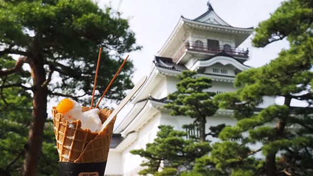 近くに富山城址公園があるので散策しながら。コーンの最後の一口部分にドライフルーツつまってるの嬉しい。