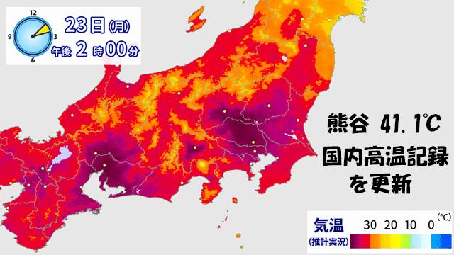熊谷で41.1℃。国内最高気温の記録を更新!記録的な酷暑がいつまでつづくか?