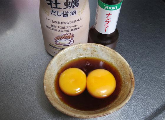 手順は簡略化し、普段から使ってる「牡蠣だし醤油」にナンプラーを少々のみで