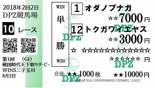 これが奔放初公開、二子玉川DPZ競馬場の馬券だ