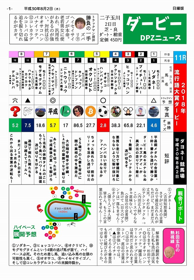 「ダービーDPZニュース」第2号(450円)。買ってくれ