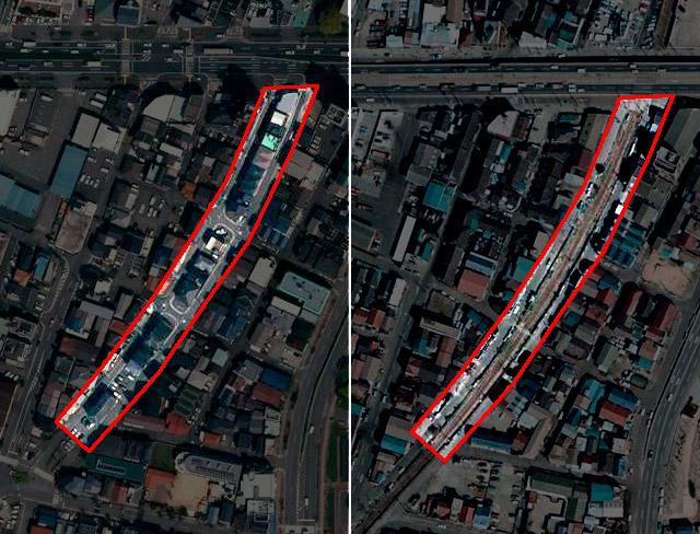 左が現在(正確には2017年)の様子。右が1975年。線路だったことが分かる(国土地理院「地図・空中写真閲覧サービス」より・左:整理番号・CKK20174/コース番号・C4/写真番号・5/撮影年月日・2017年4月14日 右:整理番号・CKK748/コース番号・C11/写真番号・15/撮影年月日・1975年3月14日)
