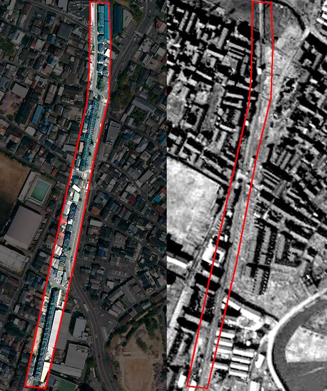 充実のトレインハウス地帯。左は現在、右は1948年。(国土地理院「地図・空中写真閲覧サービス」より・左:整理番号・CKK20174/コース番号・C4/写真番号・5/撮影年月日・2017年4月14日 右:整理番号・USA/コース番号・M18-4/写真番号・16/撮影年月日・1948年2月20日)