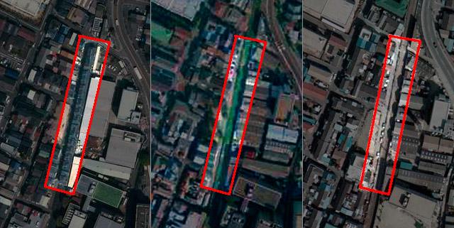 上のすばらしいトレインハウスができるまでを航空写真で見ると、こんな。左が現在。上空から見るとほんとうに車両のようだ。まんなかは1995年。廃止になったあと、しばらくは空き地だったことがわかる。右がまだ線路として機能していた1975年。(国土地理院「地図・空中写真閲覧サービス</a>」より・左:整理番号・CKK20174/コース番号・C4/写真番号・5/撮影年月日・2017年4月14日 中:整理番号・CKK952/コース番号・C7/写真番号・22/撮影年月日・1995年10月11日 右・整理番号・CKK748/コース番号・C12/写真番号・15/撮影年月日・1975年3月14日)