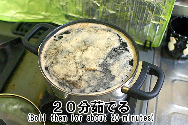 真っ黒なゆで汁に、茶色い泡。魔法使いか、オレは。