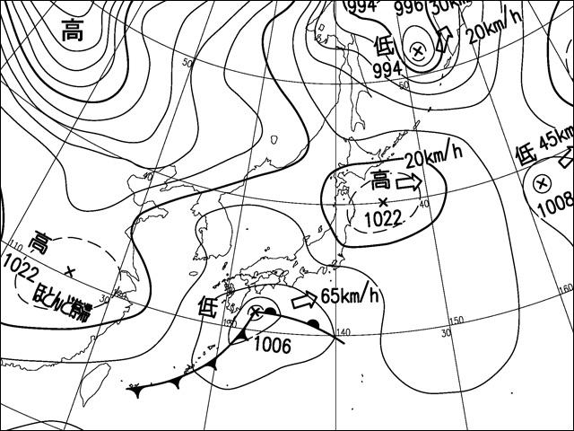 2018年1月22日。気象庁天気図。