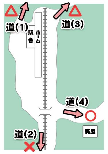 今回散策する駅の周辺マップ。四方に4本の道がある(あった)ものの、ほとんどは通行困難となっている