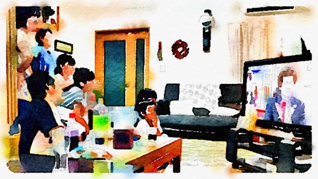 親族顔出しNGなので水彩画風に加工するアプリを使いました。それでもわかる佐藤二朗さんのアフロヘア。