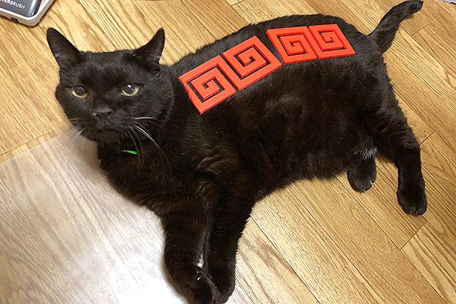猫に載せると中華料理店の看板猫に見えてきます。