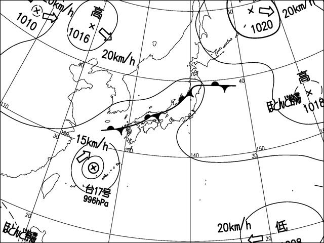 2013年9月2日。気象庁天気図。