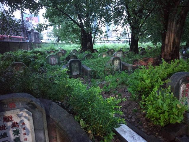 ぎゅうぎゅうに詰められるように並ぶ墓。