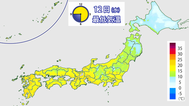 ちょっと前まで暑苦しい色をしていた予想気温の地図。今週は、北海道はもちろん本州でも秋らしく。