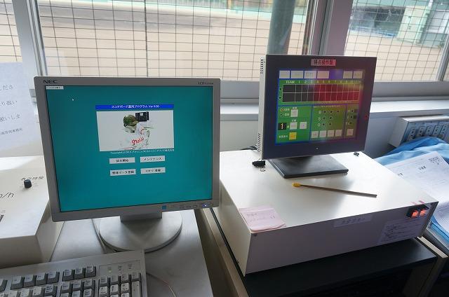わりと一般的なPCから操作する。右は得点操作盤