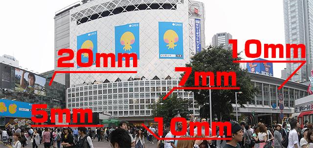 渋谷駅にむかって目についたガラスを測ってみた。