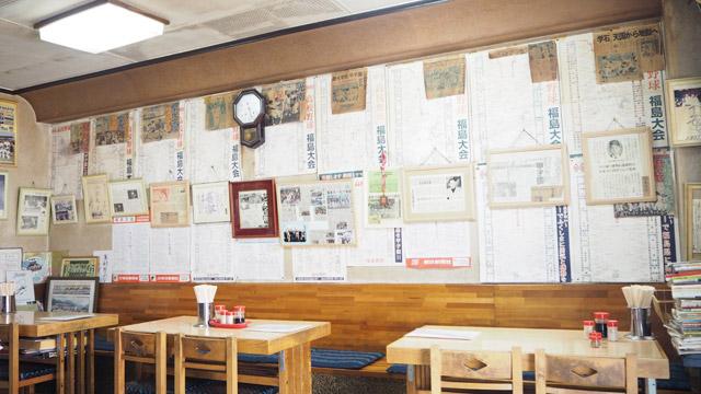 壁には福島県大会の歴代のトーナメント表がびっしり!
