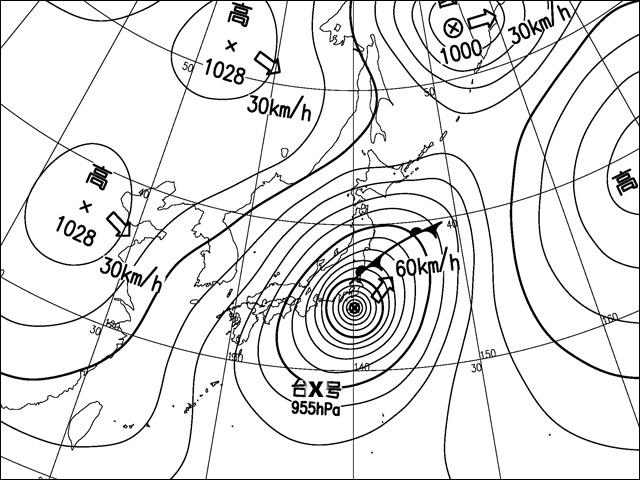 2013年10月16日。気象庁天気図。