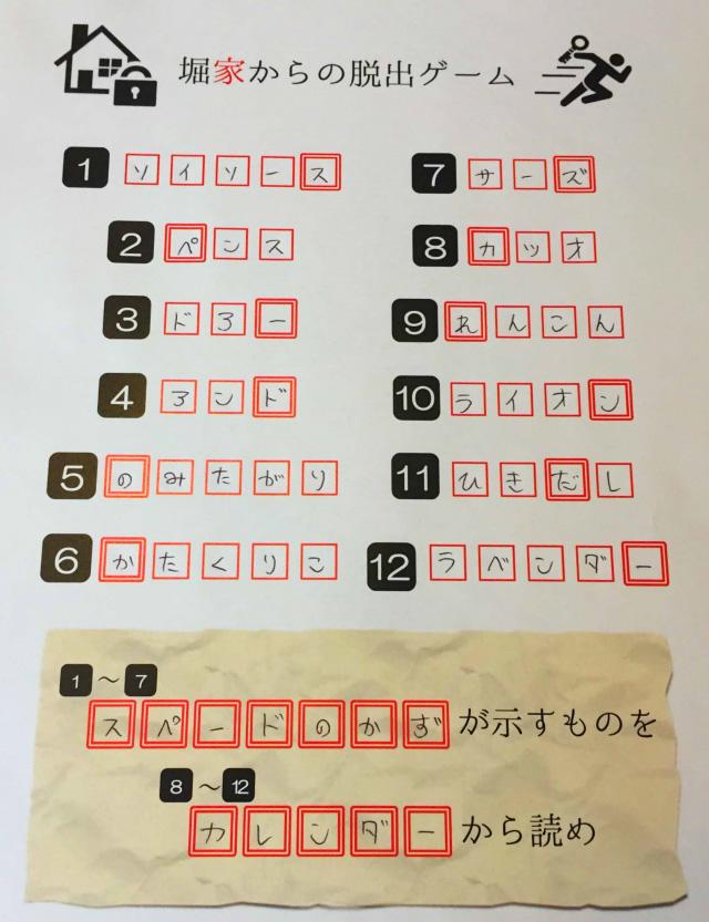 答えを用紙に記入していきます。複数の謎を解くとひとつのメッセージが浮かび上がるというのは、謎解きではよくつかわれる手法だ。こういうのを一度作ってみたかった。