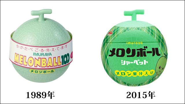 左1989年『メロンボール』、右2015年『メロンボール』