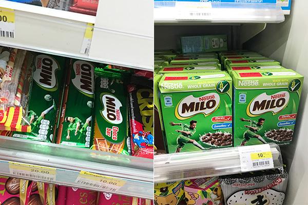 左はチョコバー。右のシリアルは買って帰って食べてみたら、牛乳がミロになった。当たり前か……