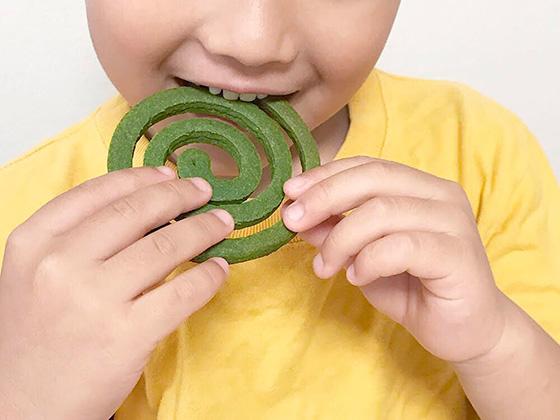 金鳥 蚊取り線香! そのものを再現! 商品そのものを食べているように見える抹茶味のクッキー。まちがわないように少しだけ太めに(Photo:大村卓)