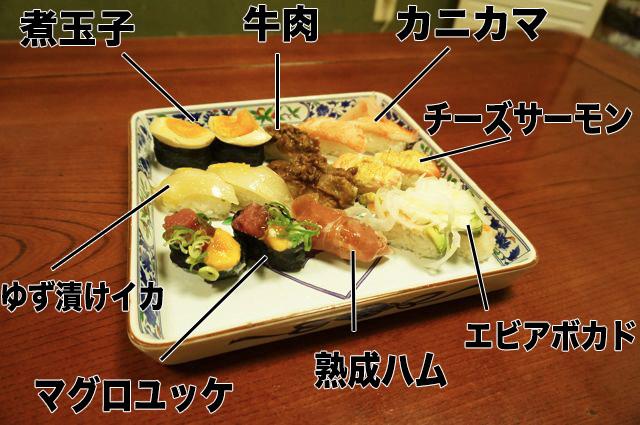 回転寿司の(邪道</s>)斬新な寿司を8種類もってきた。奇抜なものから寿司屋でもギリギリ出てきそうなものまで、なるべく種類をバラけさせた。
