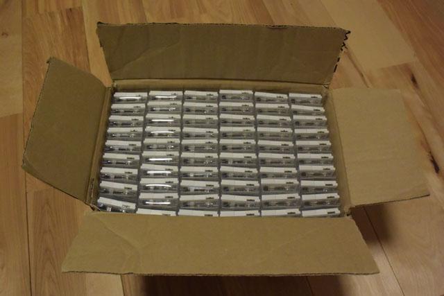 完成品を箱詰めした所。全部でだいたい200個入っている。