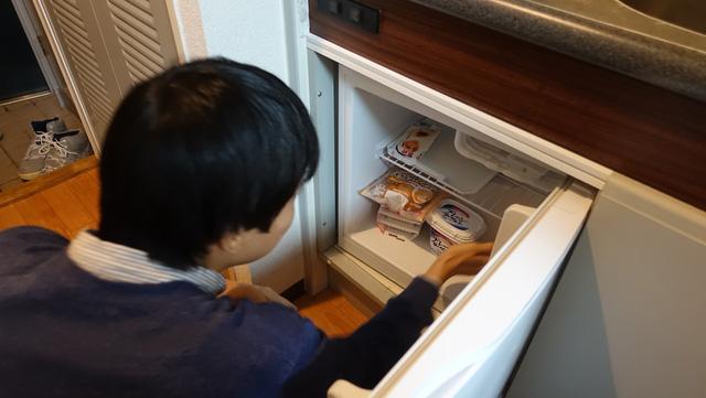 備え付けの冷蔵庫に物が全然入らないところから撮影が始まった。そういう冷蔵庫だった。(ホテルにあるタイプのやつ)