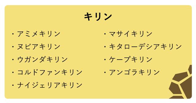 これまで考えられていた「キリン」という括りの中の9亜種。ここにコルドファンキリンなどを含め12種と考える説もある