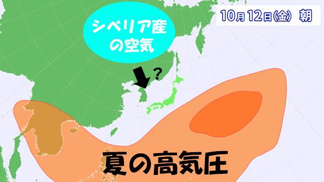 夏の高気圧は南へ後退。そのスキをねらって、シベリア産のヒンヤリ空気が南下できるか?